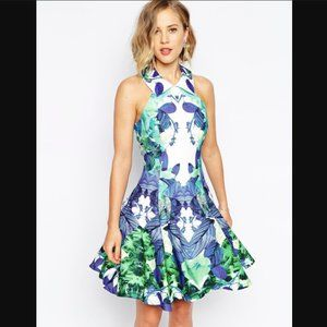 NWT Forever Unique Full Prom Dress In Jewel Print